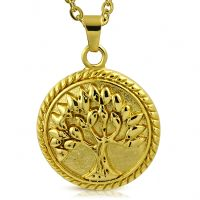 Pendant tree of life gold made of stainless steel unisex