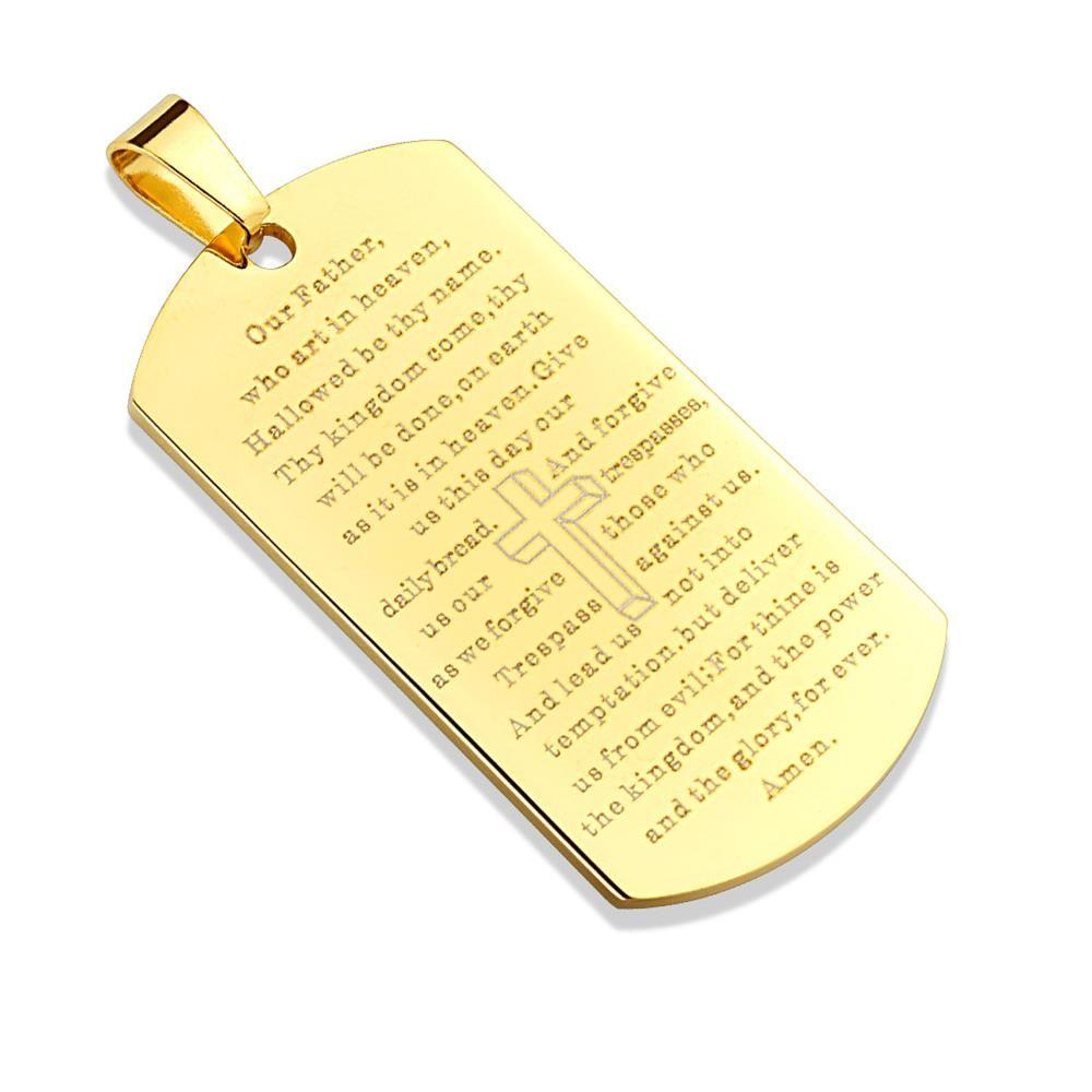 Anhänger DogTag mit Vaterunser Gold aus Edelstahl Unisex