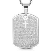 Anhänger DogTag religiös Silber aus Edelstahl...