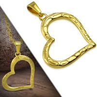 Pendant open heart gold made of stainless steel unisex