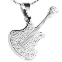 Pendant acoustic guitar silver made of stainless steel...