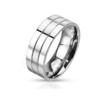 52 (16.6) Ring dreireihig Silber aus Edelstahl Unisex
