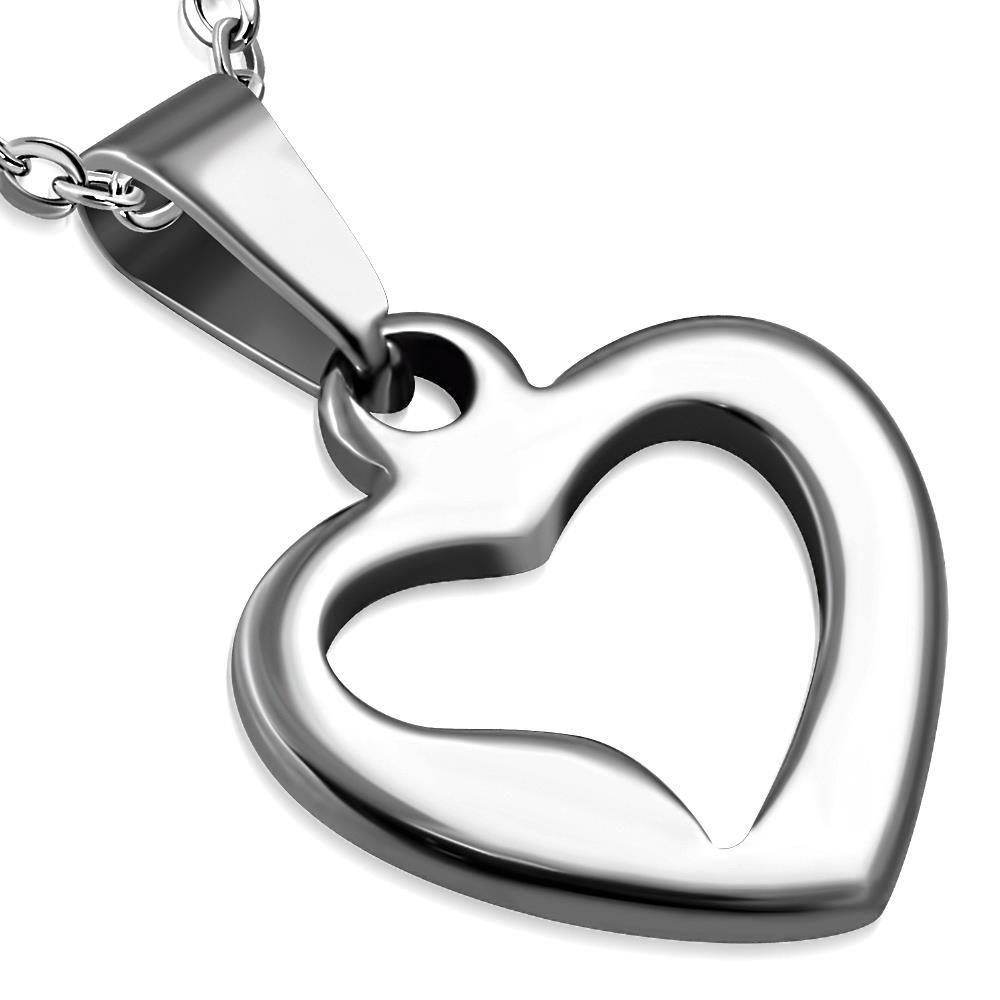 Anhänger Herz offen Silber aus Edelstahl Unisex