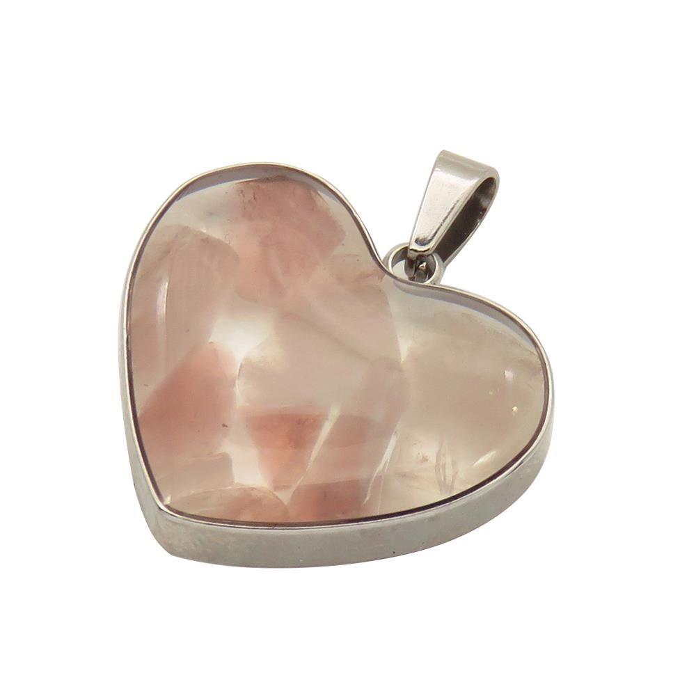 Anhänger Herz Halbedelsteine rosa aus Edelstahl Damen
