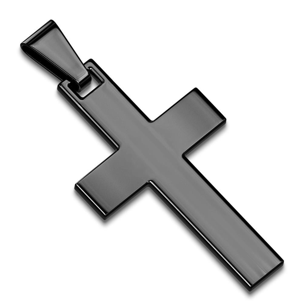 Anhänger Kreuz schwarz aus Edelstahl Unisex