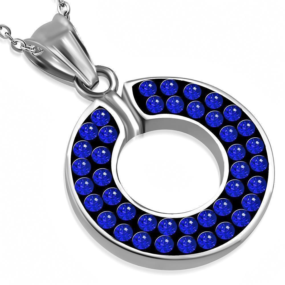 Anhänger blauer Kristall Blau aus Edelstahl Unisex