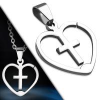 Anhänger Kreuz in Herz Silber aus Edelstahl Unisex
