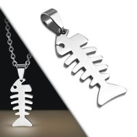 Pendant fishbone silver made of stainless steel unisex