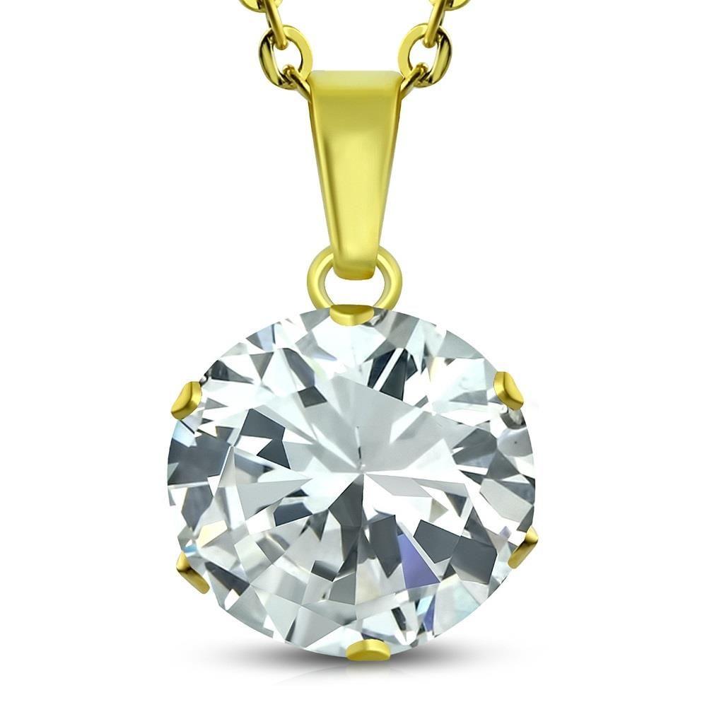 Kette Kristall Gold aus Edelstahl Unisex