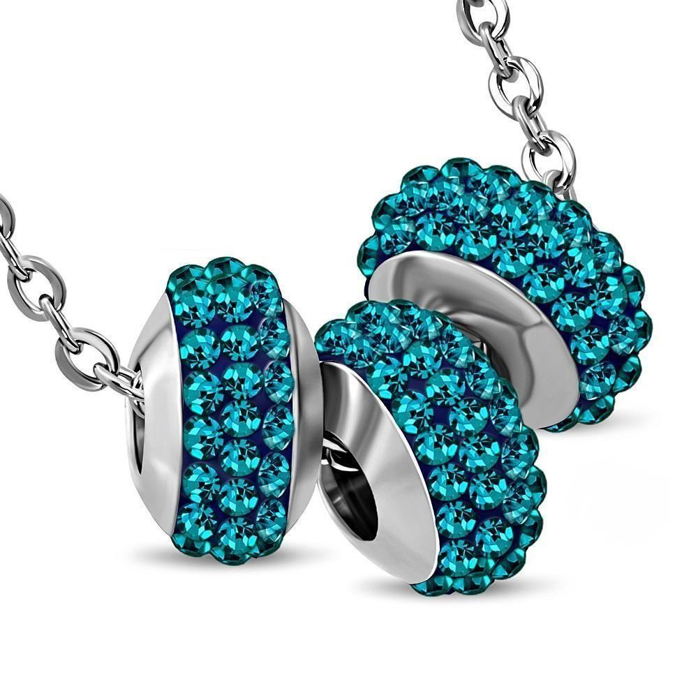 Kette 3 blaue Kristallbeads Silber aus Edelstahl Unisex