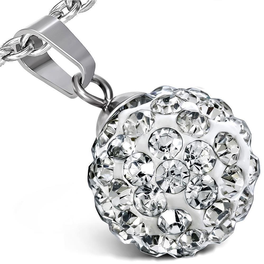 Klarer Kristall - Kette Ferido Kristallkugel Silber aus Edelstahl Unisex