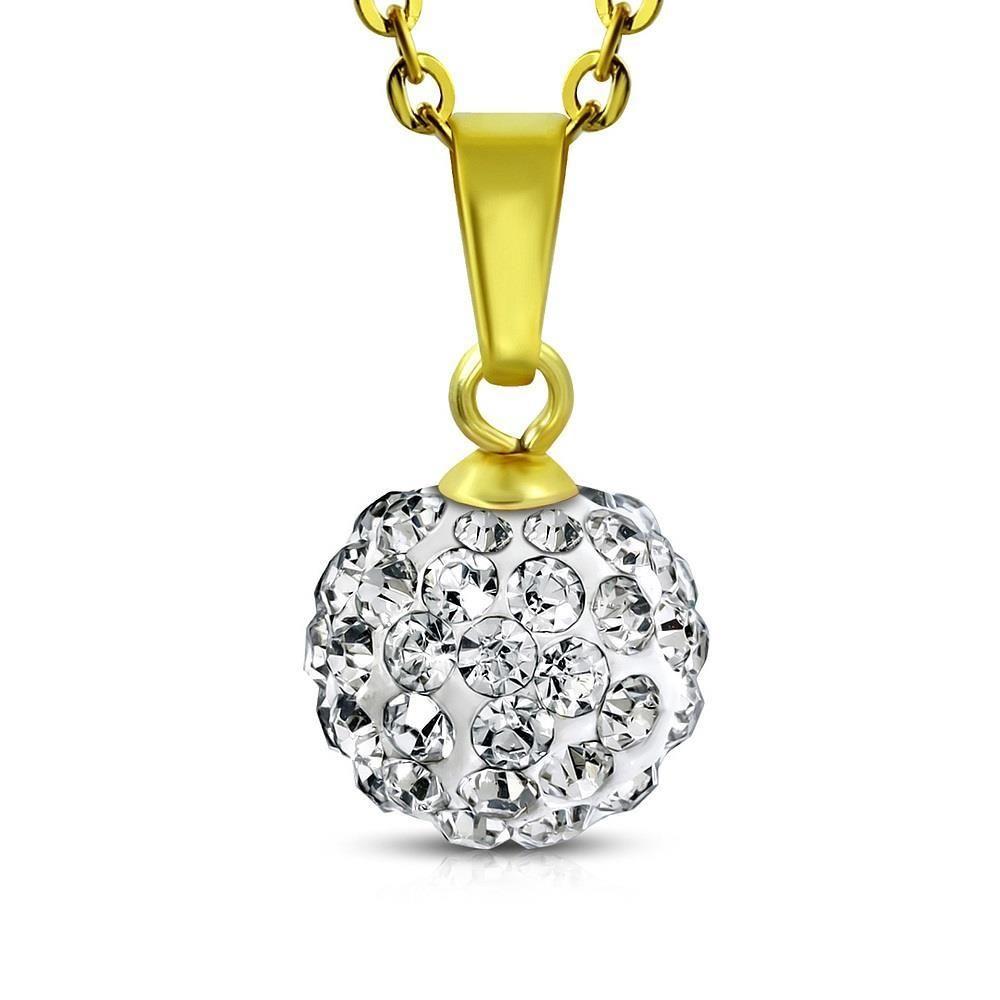klarer Kristall - Kette mit Ferido Kristall Gold aus Edelstahl Damen