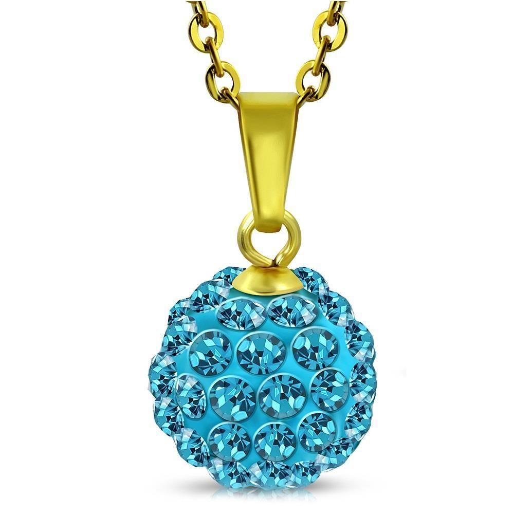 türkiser Kristall - Kette mit Ferido Kristall Gold aus Edelstahl Damen