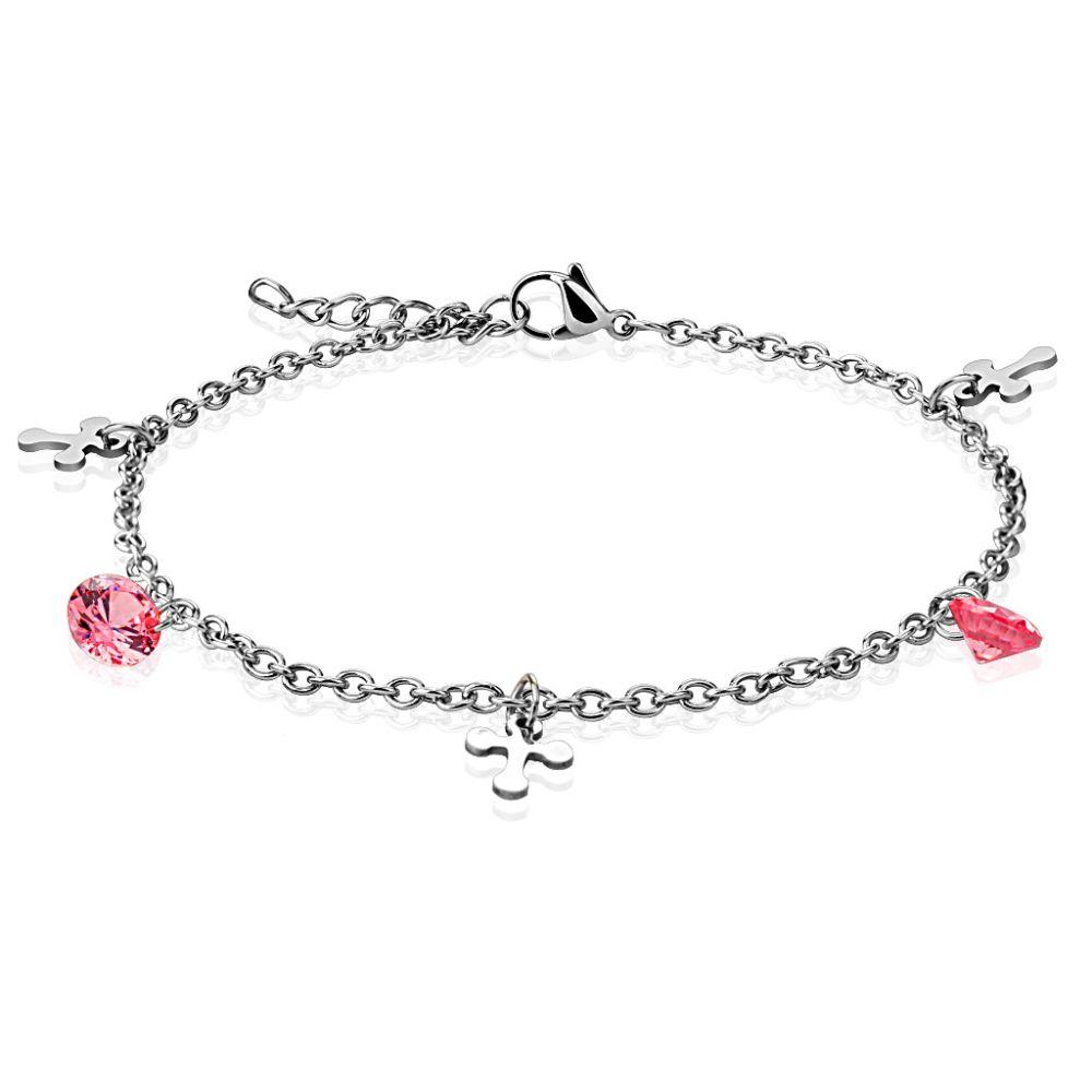 Bettelarmband Kreuz und Kristall rosa Silber aus Edelstahl für Damen
