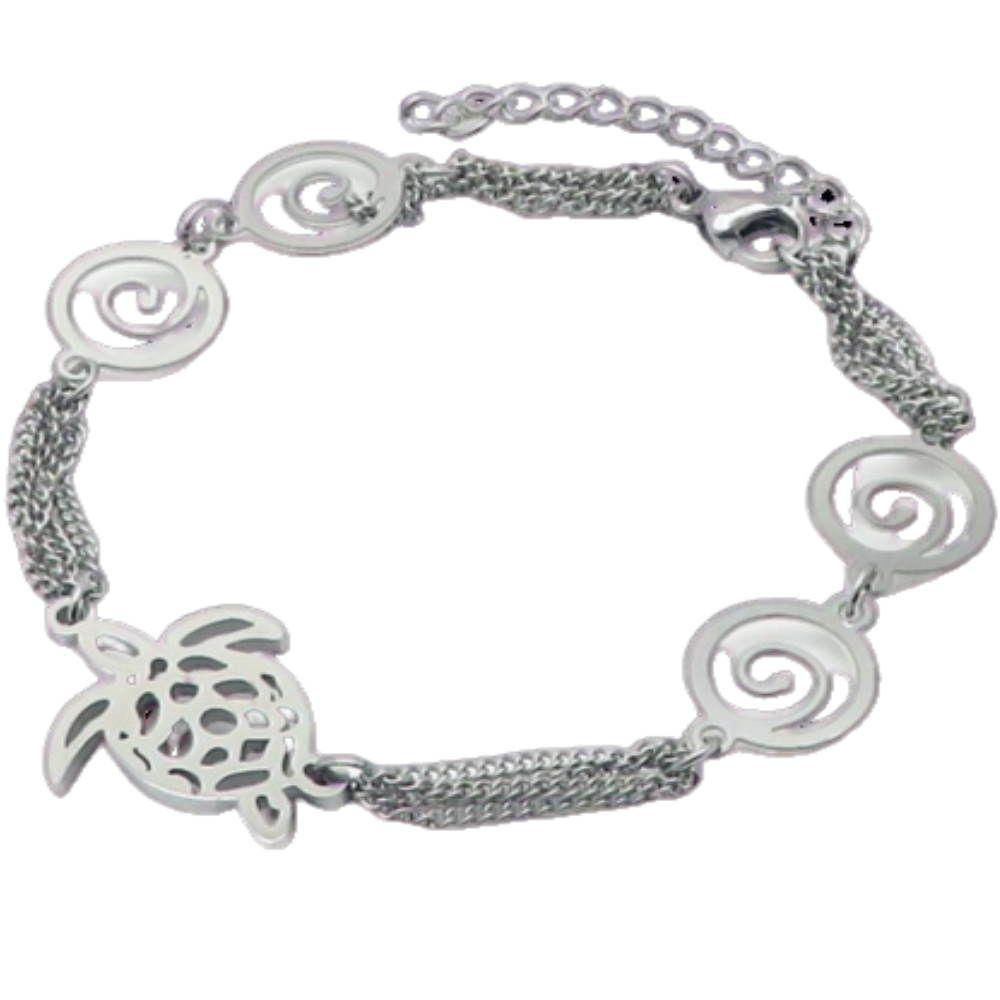 Bettelarmband Schildkröte Silber aus Edelstahl Damen
