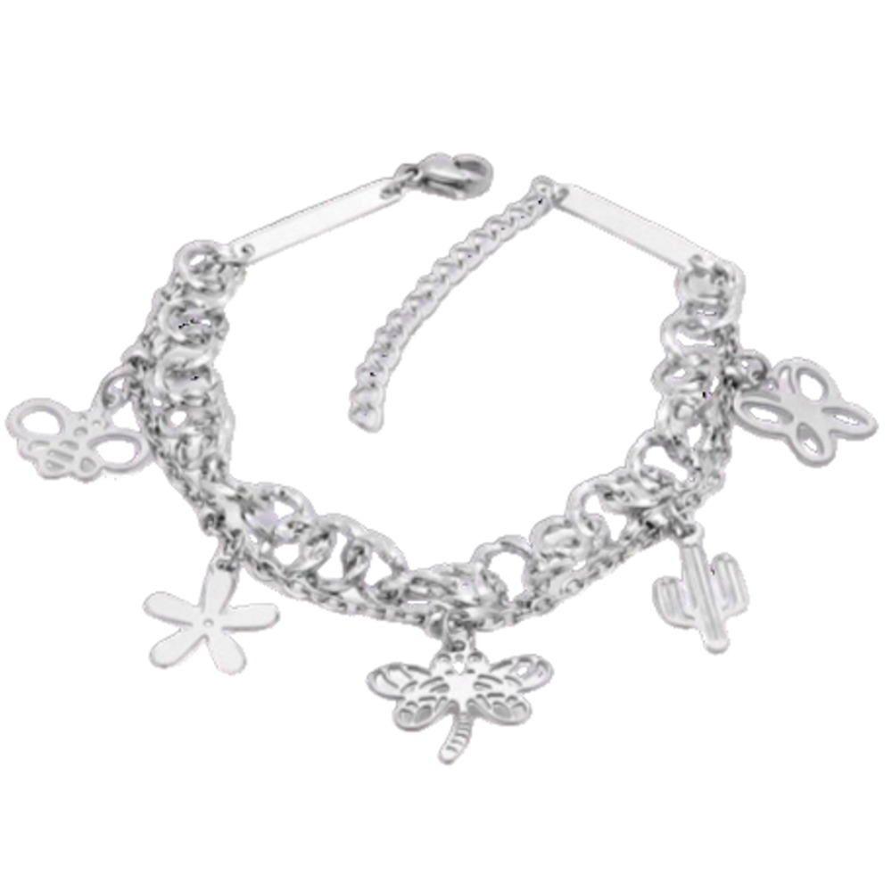 Bettelarmband Libelle Silber aus Edelstahl für Damen