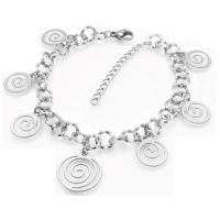 Anklet cross & balls silver made of stainless steel...