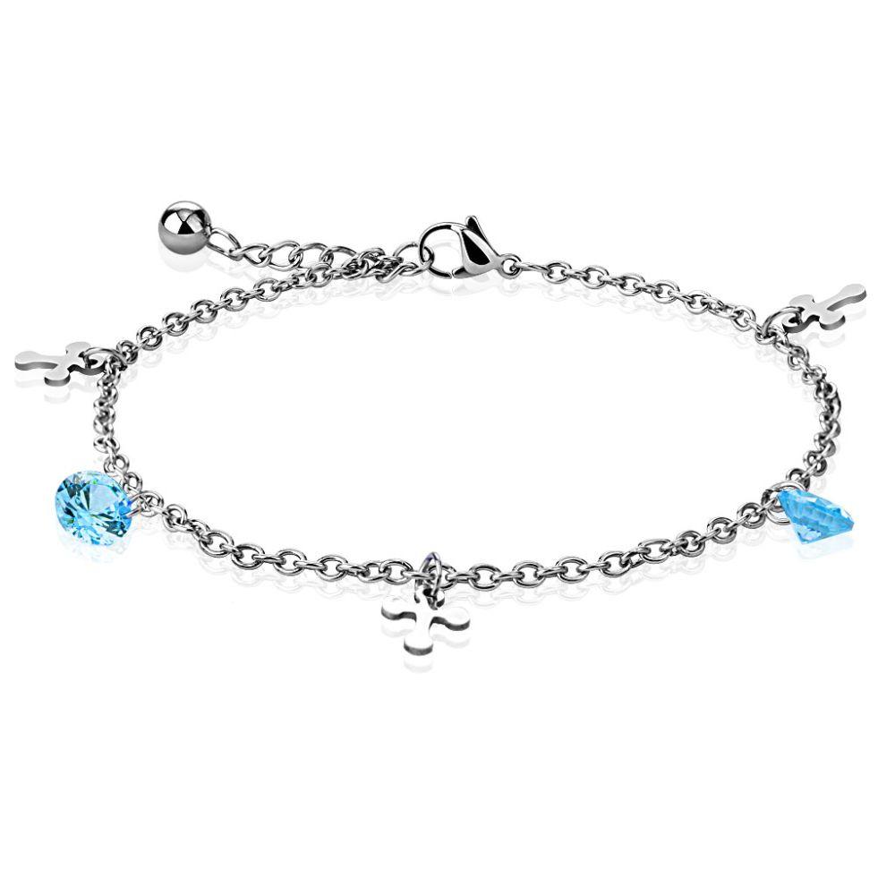 Bettelarmband Kreuz mit blauem Kristall Silber aus Edelstahl für Damen
