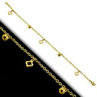 Charm bracelet square & gold balls made of stainless...