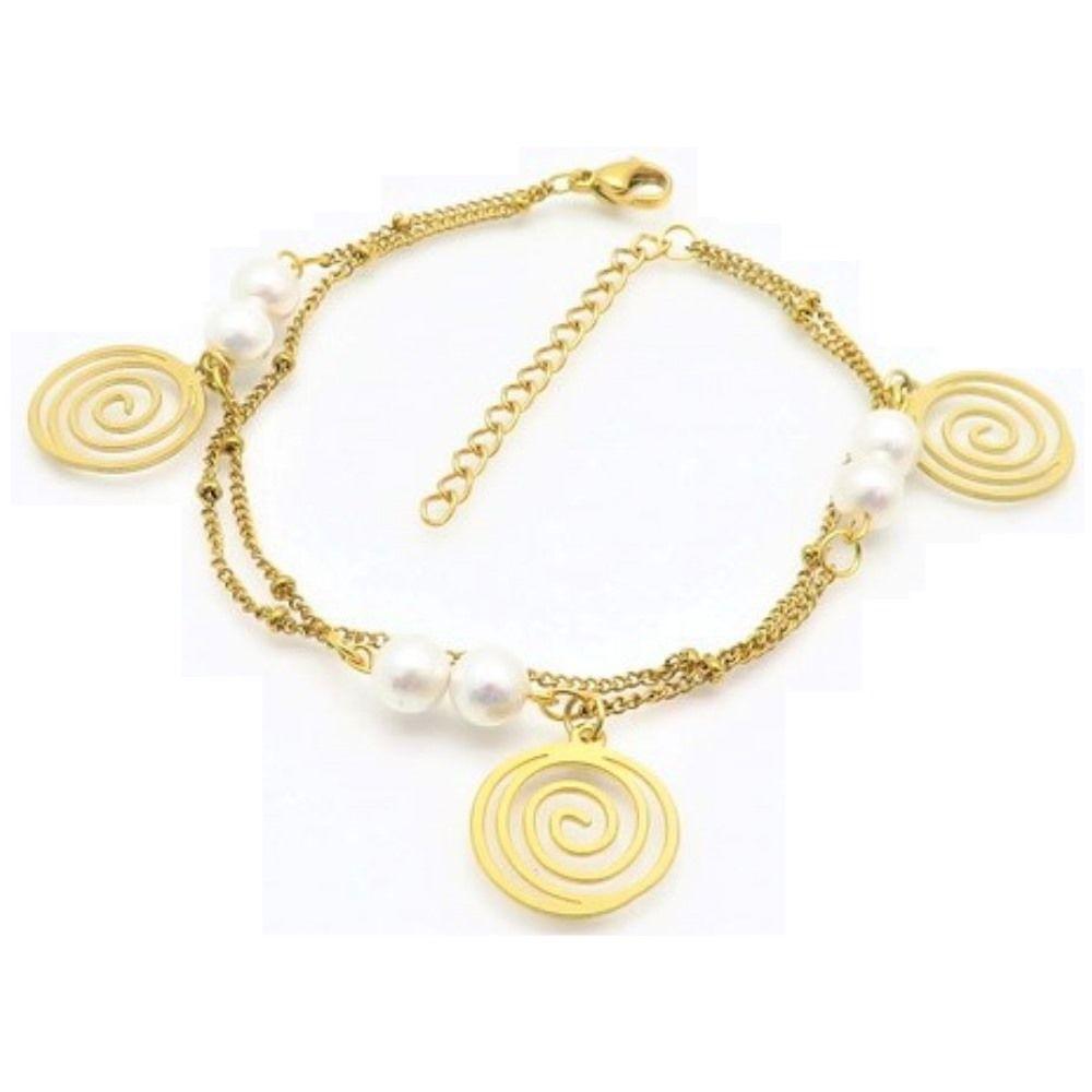 Bettelarmband Spirale und Perlen Gold aus Edelstahl Damen