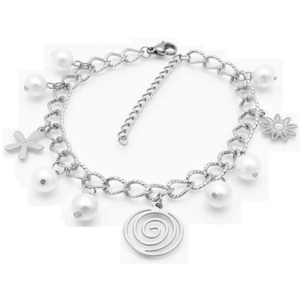 Bettelarmband Spirale, Perlen & Blümchen Silber aus Edelstahl Damen