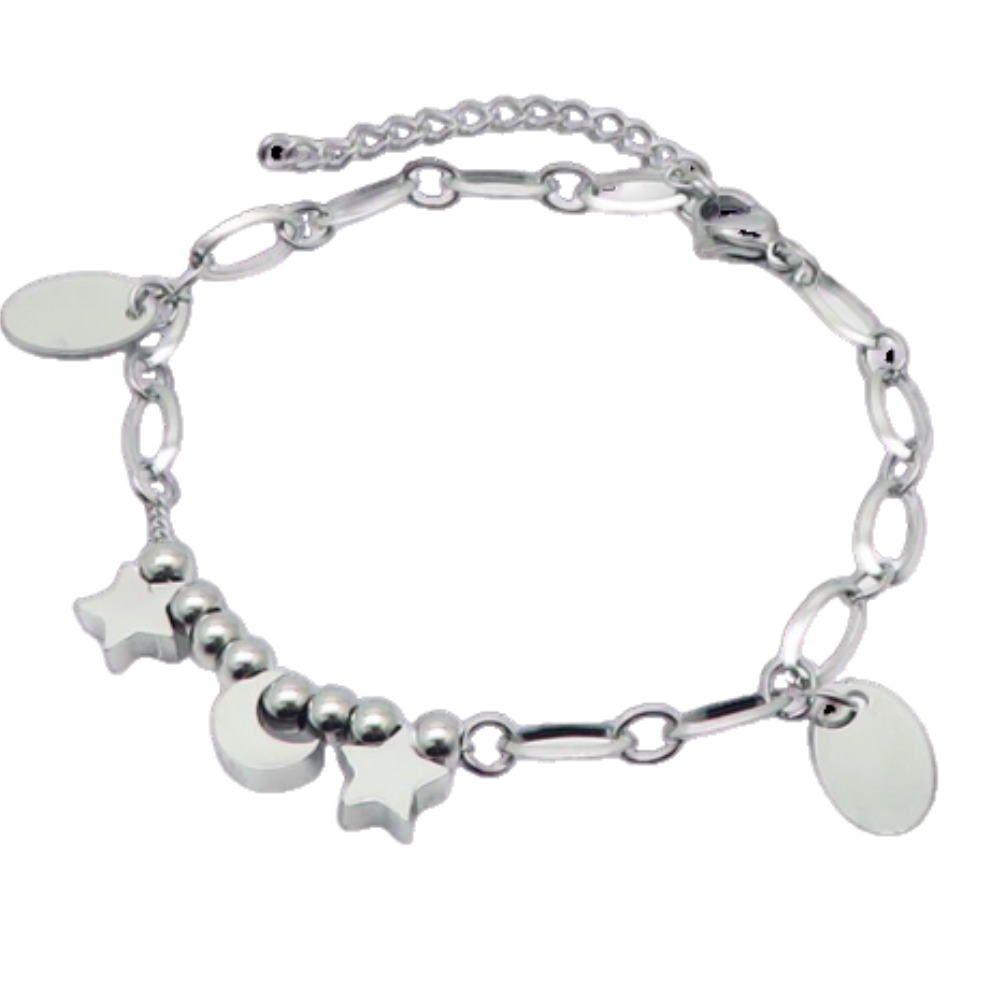 Bettelarmband Mond & Sterne Silber aus Edelstahl Damen