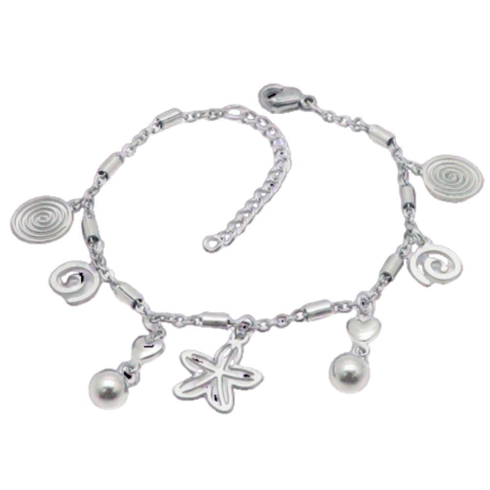 Bettelarmband Wirbel, Kugeln & Blümchen Silber aus Edelstahl Damen