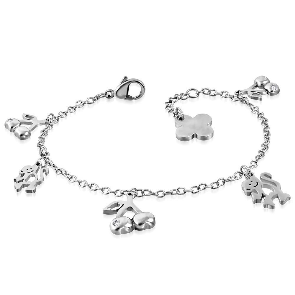 Bettelarmband Kirschen & Affen Silber aus Edelstahl Damen
