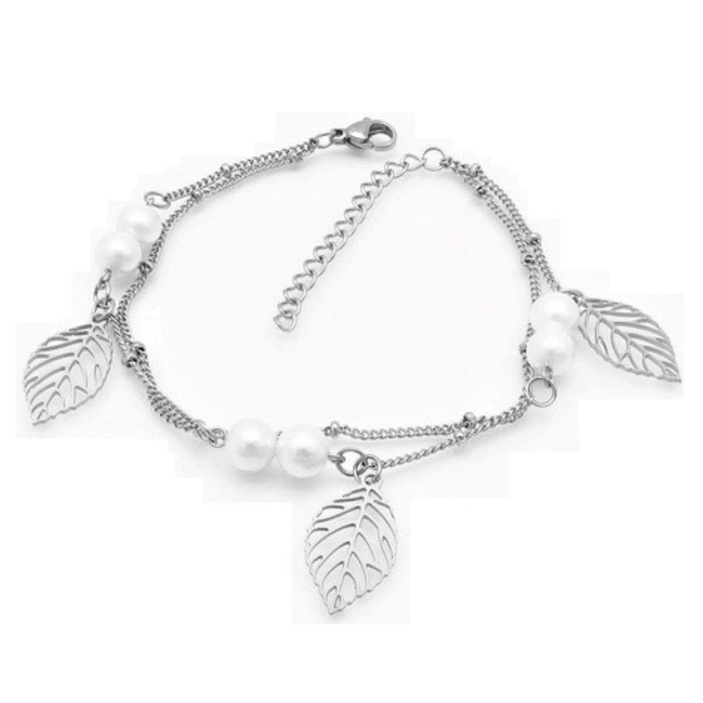 Bettelarmband Blätter & Perlen Silber aus Edelstahl Damen