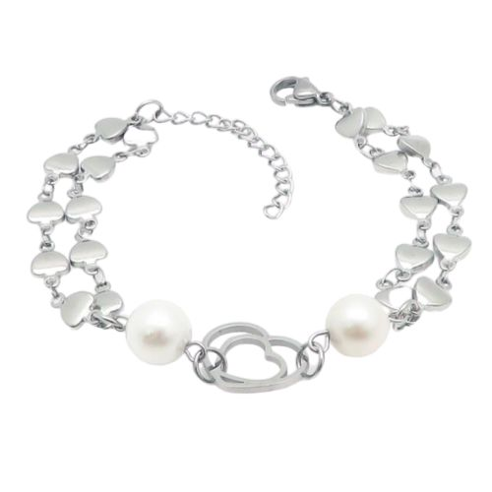 Bettelarmband Herzen & Perlen Silber aus Edelstahl Damen