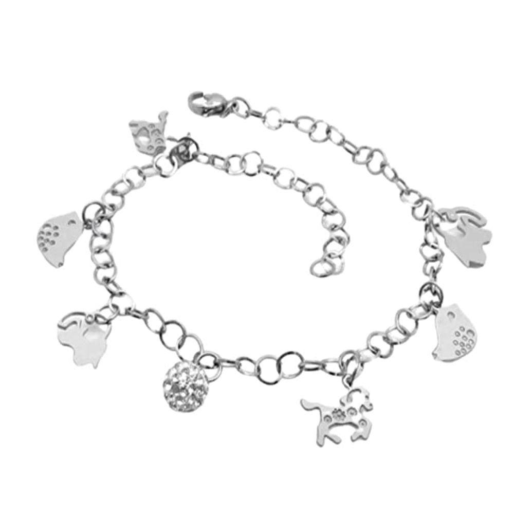 Bettelarmband Tiere & Feridokugel Silber aus Edelstahl Damen