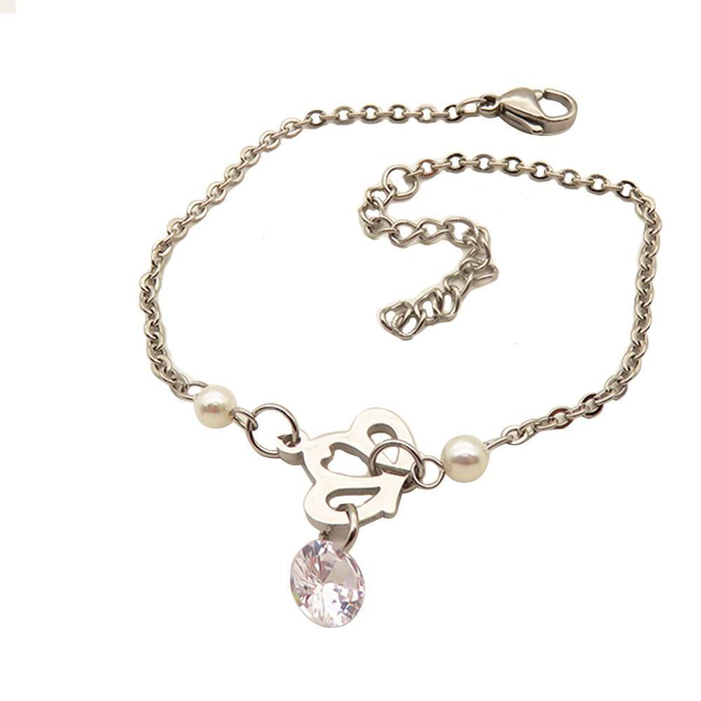 Bettelarmband Krone und Kristall Silber aus Edelstahl Damen