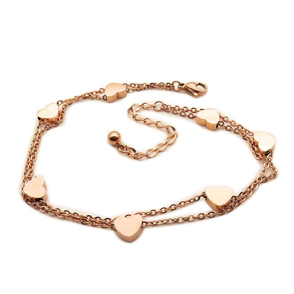 Bettelarmband Herzen rosegold aus Edelstahl Damen