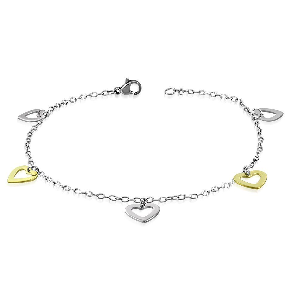 Bettelarmband offene Herzen Silber aus Edelstahl Damen
