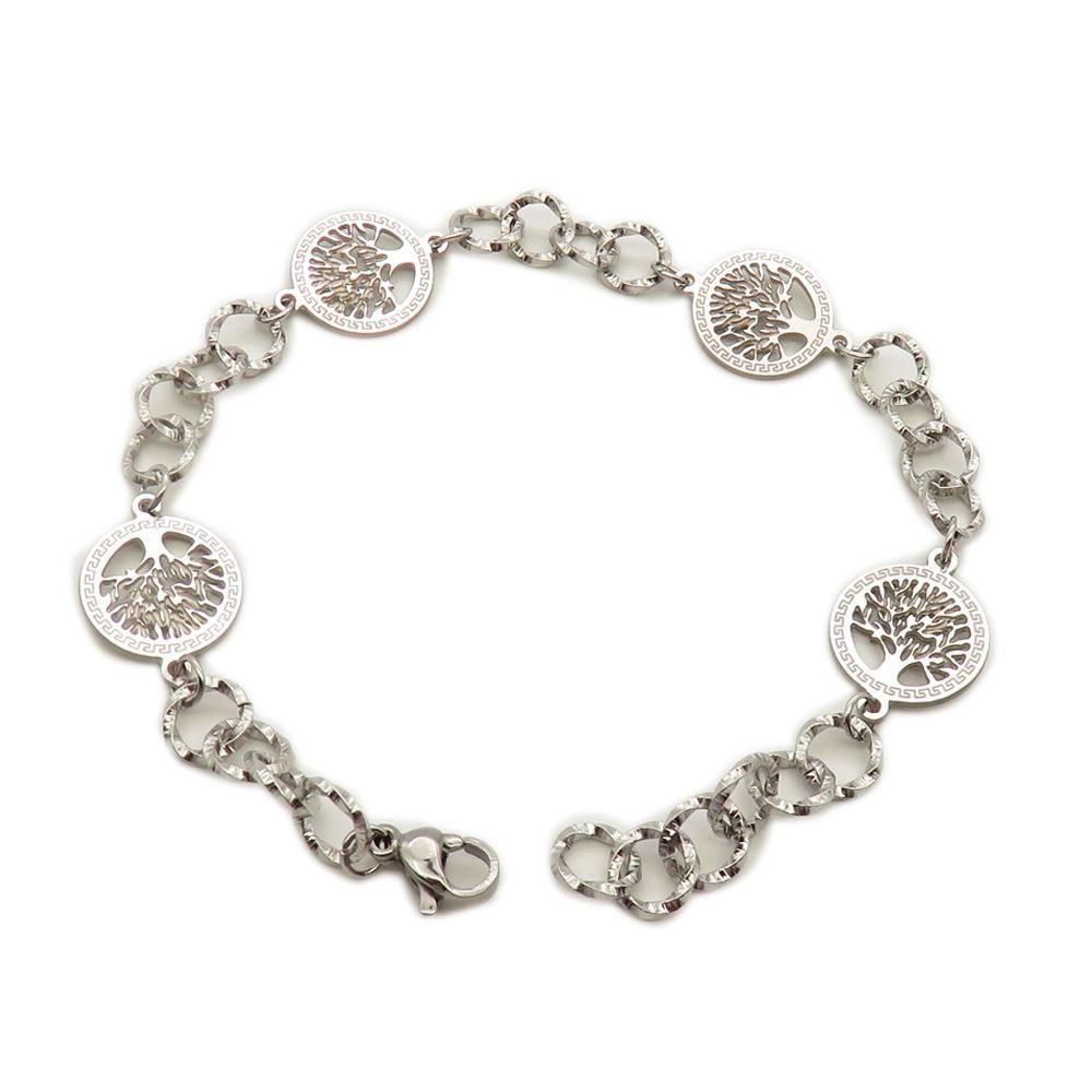 Bettelarmband Lebensbaum Silber aus Edelstahl Damen