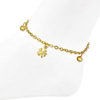 Charm bracelet shamrock gold stainless steel ladies