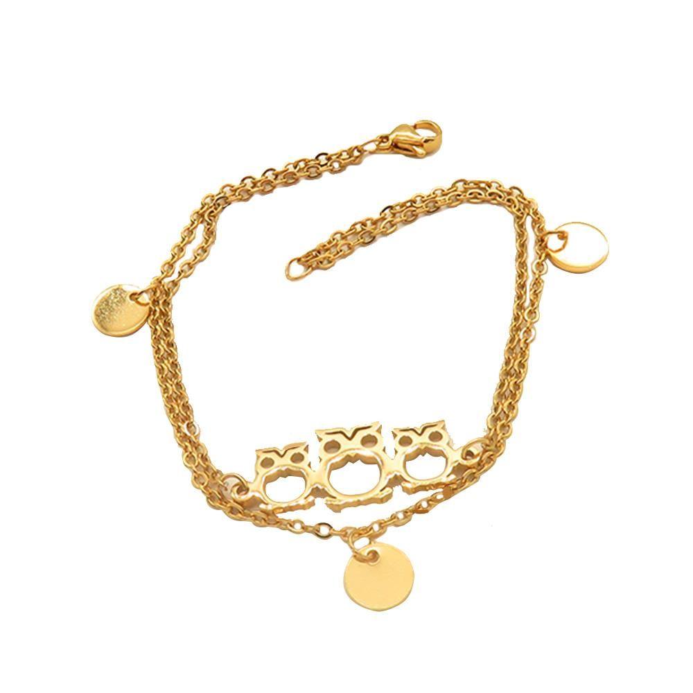 Bettelarmband Eulen gold aus Edelstahl Damen