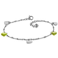 Charm bracelet hearts with crystal silver made of...