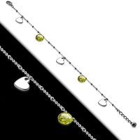 Bettelarmband Herzen mit Kristall Silber aus Edelstahl Damen