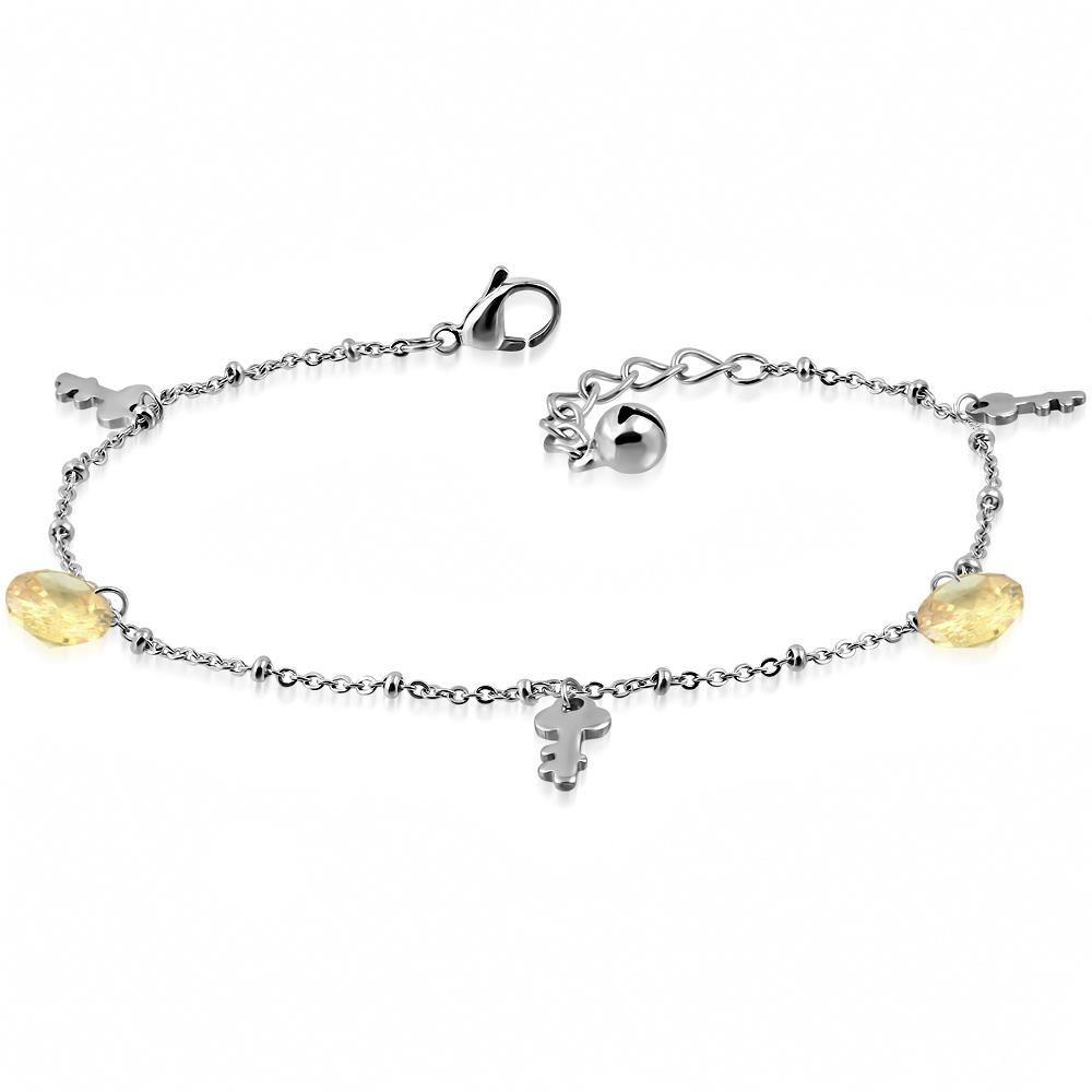 Bettelarmband Schlüssel & Kristall Silber aus Edelstahl Damen