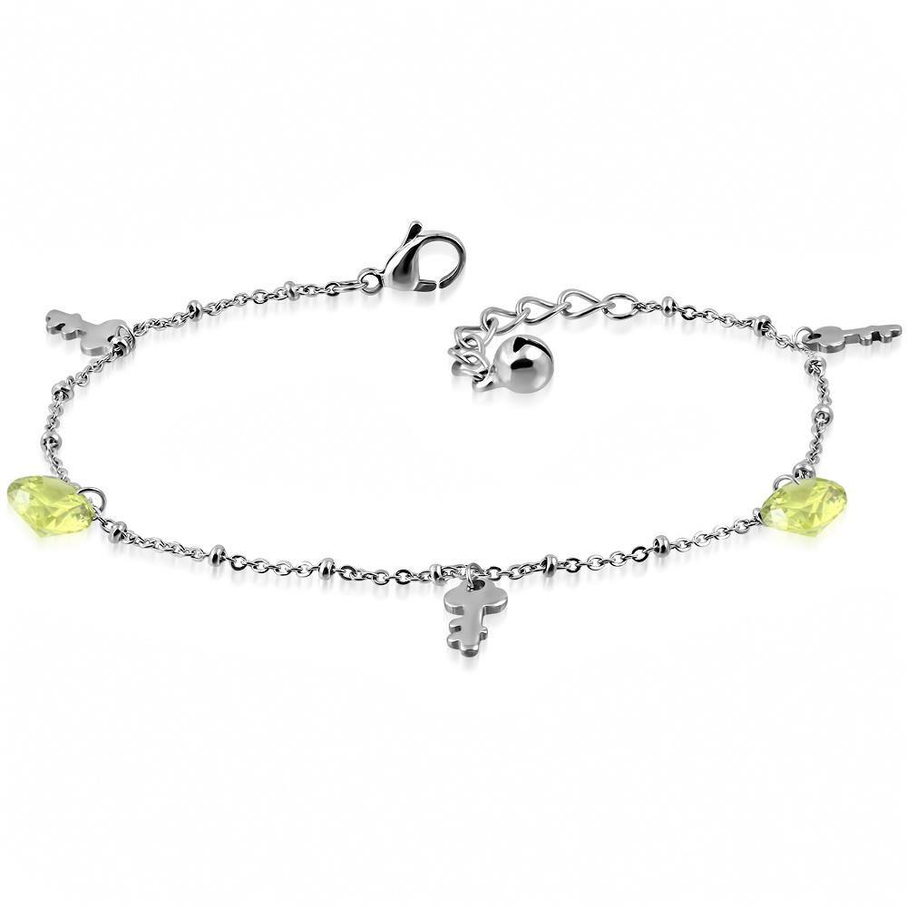 Bettelarmband Schlüssel & Zirkonia Silber aus Edelstahl Damen