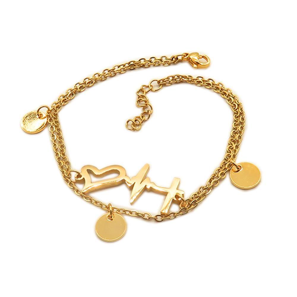 Bettelarmband Herzen und Heartbeat gold aus Edelstahl Damen