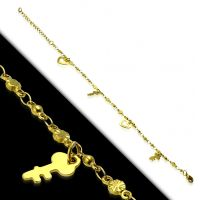 Bettelarmband Herz offen & Schlüssel Gold aus Edelstahl Damen