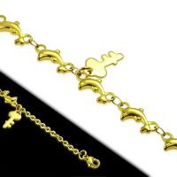 Fusskette Schlüssel Gold aus Edelstahl Damen