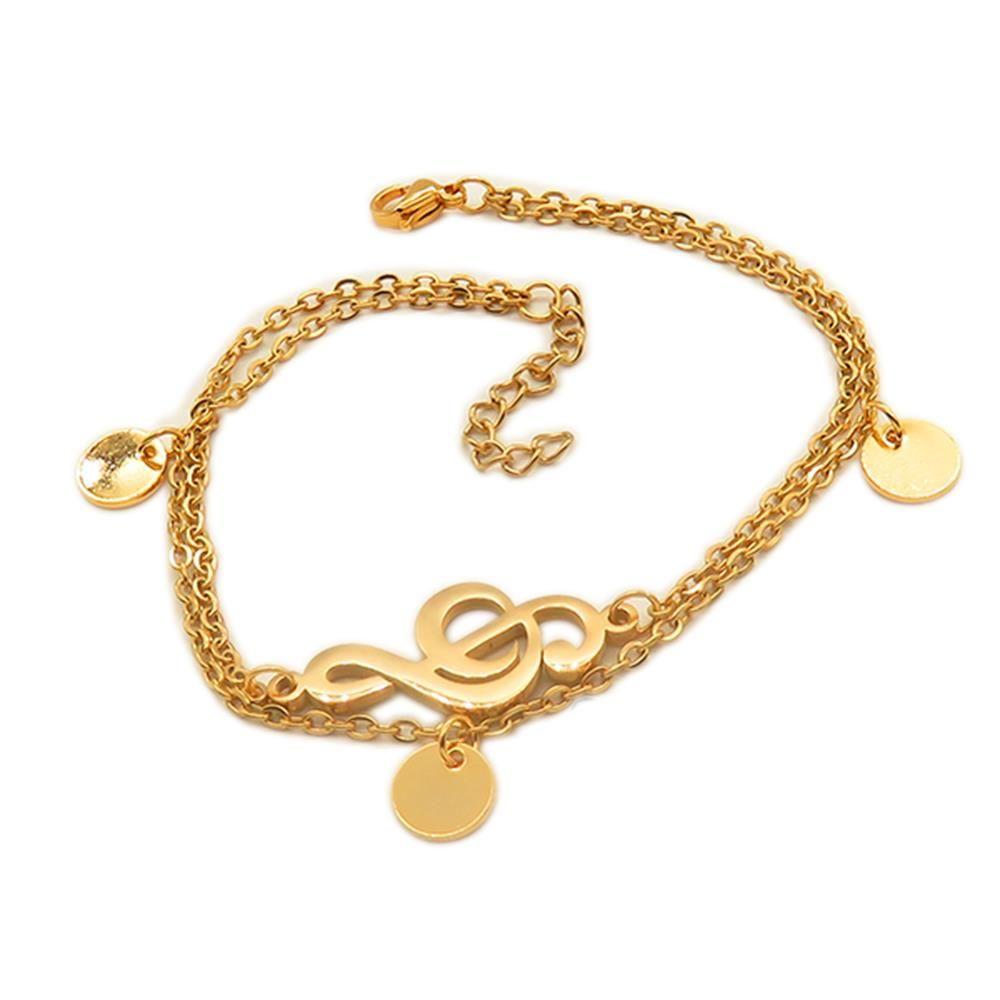 Bettelarmband Notenschlüssel gold aus Edelstahl Damen