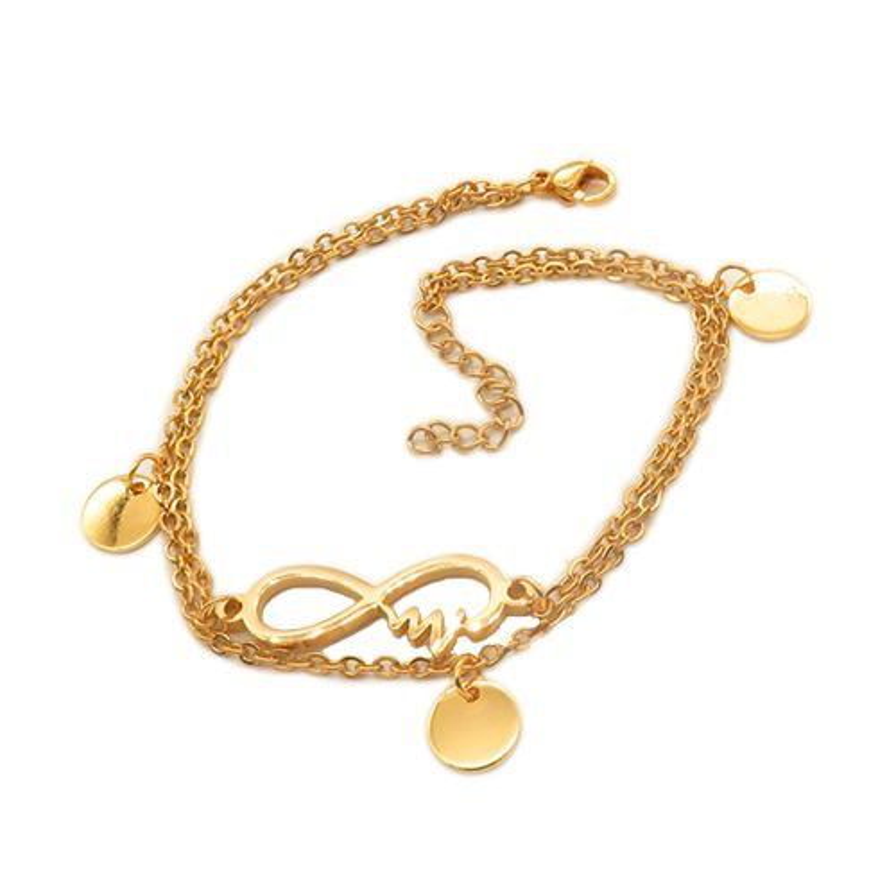 Bettelarmband Infinity und Heartbeat gold aus Edelstahl Damen