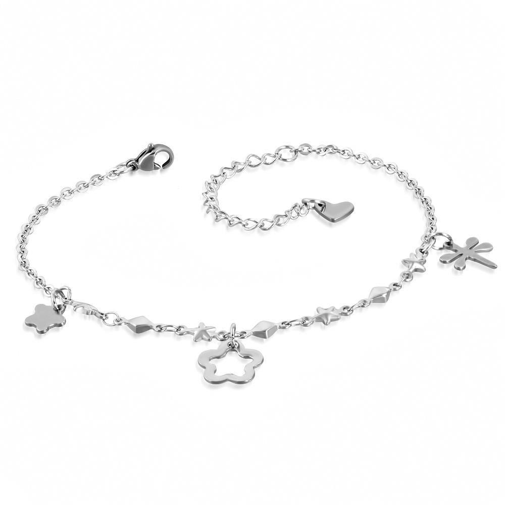 Bettelarmband Blumen, Libelle & Herz Silber aus Edelstahl Damen