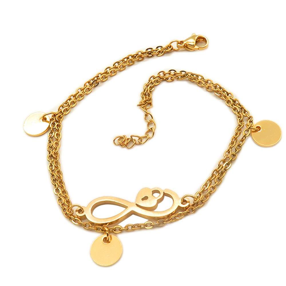 Bettelarmband Infinity und Herzschloss gold aus Edelstahl Damen