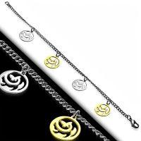 Bettelarmband Blumencharm Silber aus Edelstahl Damen