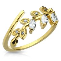Toe ring crystal leaves gold brass ladies
